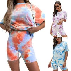 Женщин Sleepwear круглой горловины печати холл короткие втулки установите Pajama ночной рубашке с коротких замыканий Летние дома женщин износа