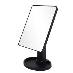 책상 메이크업 미러 광기 LED 하이 외관 미러 180d 무료 조명이 있는 터치 스크린 디밍 스탠딩 미러로 회전