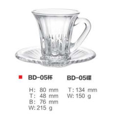 Elegant ontworpen Coffee Tea Glass Cup Plate-set met Saucer
