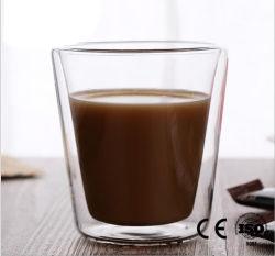 De dubbele Kop van de Mok van de Koffie van het Glas van de Laag Transparante met de Kop van de Hittebestendigheid van het Handvat Voor de Melk van de Thee