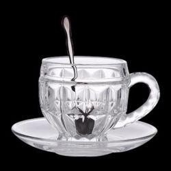 Freie Glasbecher, trinkendes Glas-Cup, freie Glaskaffeetasse, graviertes Glascup und Saucer, Kaffee-Glas