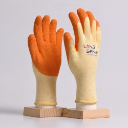 Commerce de gros calibre 10 21 5 fils de polyester/coton Doublure en coton recouvert de caoutchouc latex rides ondulée main Gants de travail de protection de sécurité avec FR388 61161000 Noir Rouge Orange