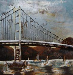 Металлические украшения картины маслом стены искусства Бруклинский мост железные цепи 3D размер