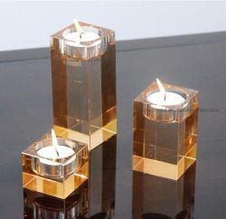 Оптовая торговля прямоугольник хрустальное стекло при свечах держатель для свадебного подарка/Home/оформление религиозного праздника