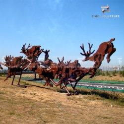 Formato de veados em aço inoxidável escultura de Spray de superfície laca vermelha