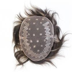 Fashion Cor de Realce as rendas francesas com revestimento de polietileno de cabelo humano dos homens peruca