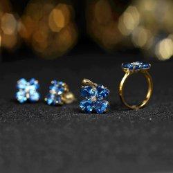 Juwelen 925 van de manier de Zilveren Vastgestelde Juwelen van de Helft van de Steen van de Kleur van het Gouden Plateren Grote