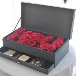 Sincères Rectangle Satin souhaite couvrir préservé fleur double couche Case, tiroir de type boîte cadeau de fleur avec fleur de la boue