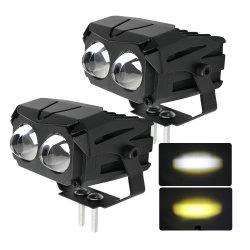 2020 Fabricante preço grossista 12V COR DUAL LED âmbar funcionam luzes de nevoeiro para moto 4X4 ATV UTV