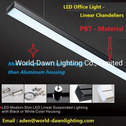 Moderne dünne LED lineare verschobene Beleuchtung LED-mit Leuchter-Anhänger-Licht des schwarzen oder weißen Farben-Büro-Licht-linearem LED rechteckigem