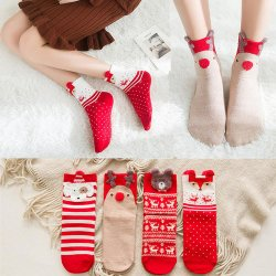 Pattern Print Red Cute Kawaii Female Short Warm Socks High Christmas Giftの新しいChristmas Socks Women Cotton Funny Socks