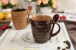 Hot Sale 10oz céramique Mug en grès avec cuillère Cappuccino tasse à café pour le commerce de gros
