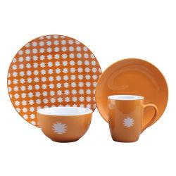 16pcs con vajillas de cerámica de diseño esmalte color Gres Cena