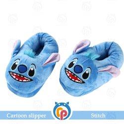 100% poliéster 3D Cartoon Stitch Non-Slip azul de pelo zapatillas de casa