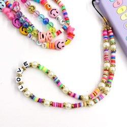 패션 쥬얼리 비즈 레인보우 과일 스마일리 페이즈 스타일 휴대폰 Chains Beads Women Phone Strap의 마법