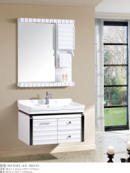 غرفة من طراز PVC الخزامات العتيقة أرضية مزودة بالسيراميك وحمام مزود بخزانة مخصصة للأثاث المرآة