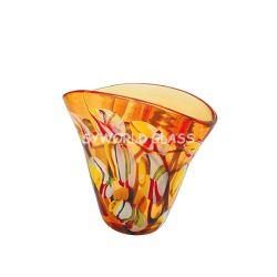 Ripiani del tavolo di vetro di vetro saltati bocca delle ciotole di vetro del vaso di Murano in ambra (SA1202AM)