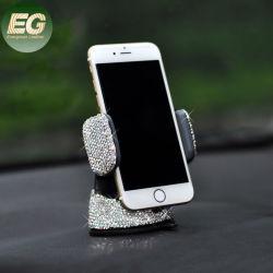 Ea019 조절식 범용 강력 접착식 대시보드 공기 통기구 베이스 다이아몬드 흡착기 홀더스 블링 라인스톤 휴대폰 홀더 크리스탈 카 전화 마운트
