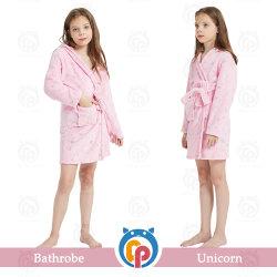 반짝이는 별 유니콘 핑크 걸 욕실 테리 목욕 가운