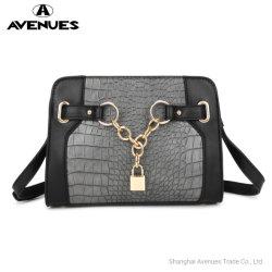 La mode Mini sac de couleur de contraste de la courroie Croco corps en cuir noir en cuir tendance Crossbody décoratifs de la chaîne avant de sacs de verrouillage