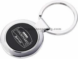 Forme ronde en alliage de zinc trousseau de clés en métal avec logo imprimé