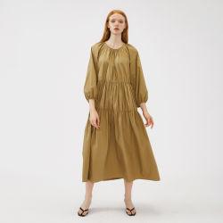 Hochwertiger fester runder Stutzen-weiche Baumwolle und Leinenfrauen-Sommer lösen Kleid