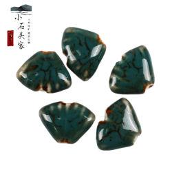 Kiln Change High Temperature Ceramic Beaded Special-Shaped Green Ginkgo Leaf 루즈비즈 브라케렛 목걸이 우븐 DIY 보석 도매