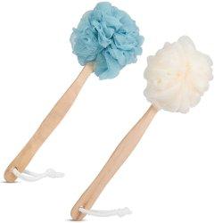Corpo de banho de chuveiro de malha de bola com pega de madeira Depurador limpeza e esfoliação corporal