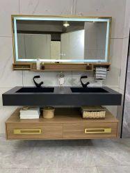 Doré avec comptoir en marbre noir moderne salle de bains de la vanité à montage mural