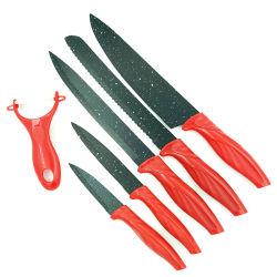 6-PCS Mango de acero inoxidable Coloed PP Juego de cuchillos de chef