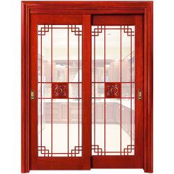 La coutume de l'intérieur en bois massif/MDF Double porte en bois coulissantes en verre (YH-6025)
