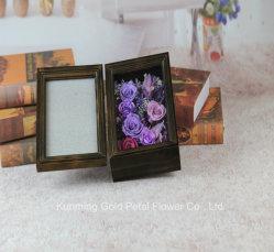 Eterno Flor Natural preservada rosa púrpura negro de regalo el marco de fotos para Bodas Decoración