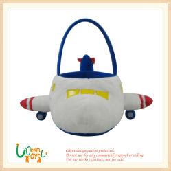 La peluche molle scherza il giocattolo della bambola del cestino dell'aeroplano dei bambini
