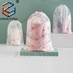 Paño de promoción de la bolsa de embalaje bolsa de regalo pequeño cordón de plástico de PVC transparente con bolsa de logotipo personalizado