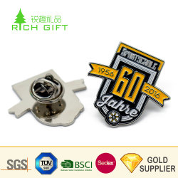 Aprovisionamento de fábrica de ferro metálico personalizado estampado Prata letra e número PIN de lapela com preço competitivo