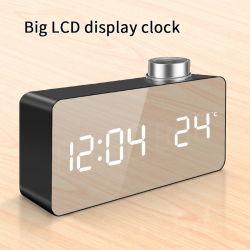 机のための大きい表示デジタルLCDミラーの目覚し時計