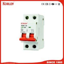 Professional Fabricação de aparelhos elétricos de baixa voltagem para 34 anos Korlen Disjuntor Miniatura MCB IEC60898