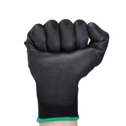 قفازات العمل المقاومة للانزلاق المقاومة للتآكل والسعر بالجملة الخاصة بالطلاء الأسود PU