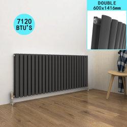 Diseño de panel plano horizontal del radiador de calefacción modernos gris doble 600 x 1003 mm