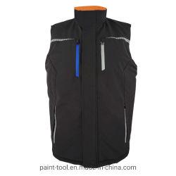 Mens стенд втулку куртка без рукавов органа теплее Майка Workwear светоотражающей одежды печать на груди
