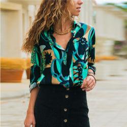 2019 Vente chaude femmes mousseline de soie imprimée Chemisier col V Shirt