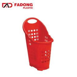 Cestino di acquisto di plastica di vendita caldo di rotolamento del supermercato certo