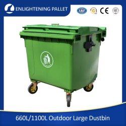 Serviço Pesado durável grandes Eco-Friendly reciclar de HDPE médico amarela 1100L/660L porcaria caixote de lixo de plástico/faz um cavalinho/resíduos/Lixo com Piscina/Pedal/rodas