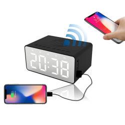 Mini haut-parleur stéréo portable Bluetooth Réveil numérique sans fil Super Bass le président de la radio FM