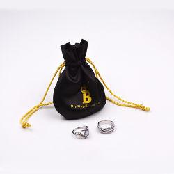 Imprimé personnalisé petite coulisse velours promotionnel un emballage cadeau sac de bijoux