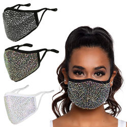 Пользовательские Wahable черного цвета ткани ткани ротовой полости носа моды пыли многократного использования мелочь Rhinestone маску для лица лыжный 2021 Rhinestone Crystal маска с фильтром чехол регулируемый