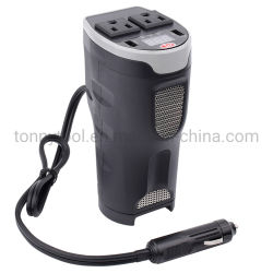 Convertisseur auto voiture alimentation 200W DC 12V à 110V AC porte gobelet voiture onduleur avec deux ports USB et affichage numérique