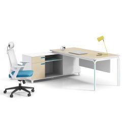 현대 멜라민 금속 프레임 L 모양 구석 사무실 책상 매니저 테이블