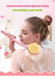 Купание артефакт ванной щетки назад ванной Flower шарик щетка с длинной рукояткой рублей грязи мягкой щетки ванна для волос на задней панели рублей банными полотенцами.