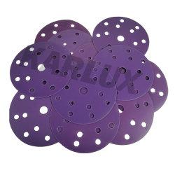 Papier abrasif de haute qualité violet 6'' 15 trous Disque de sable en papier abrasif
